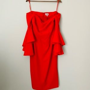 Milly Bright Red Off Shoulder Dress